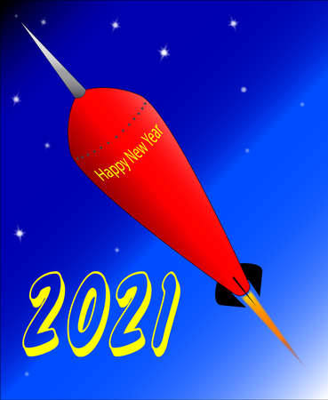 A retro look rocket ship with the message 'Happy New Year 2021'.