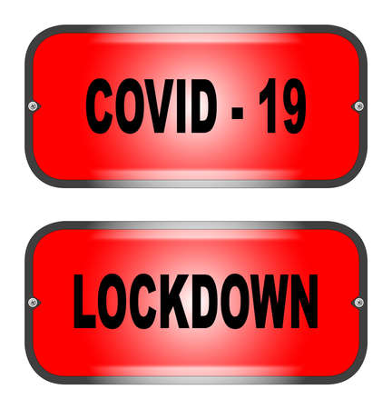 Two warning lights exclaiming Cobid 19 and Lockdown on a white background