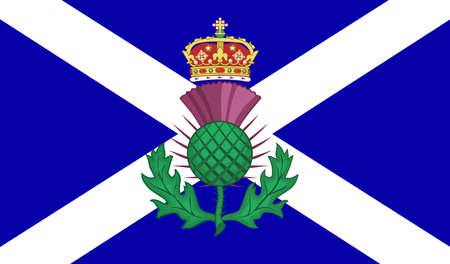 The official flag for Scotland with the traditional Scott symbol of a thistle and crown