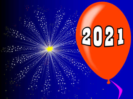 A flyaway red balloon with a skyrocket explosion with fallout and the year 2021