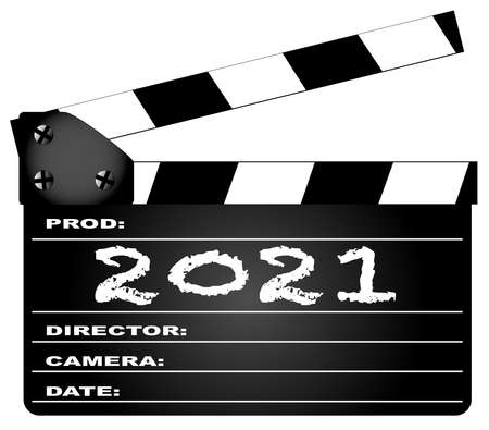 A typical movie clapperboard with the legend 2021 isolated on white.