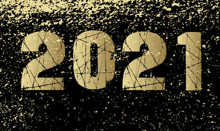 A new year 2021 card background in gold and black