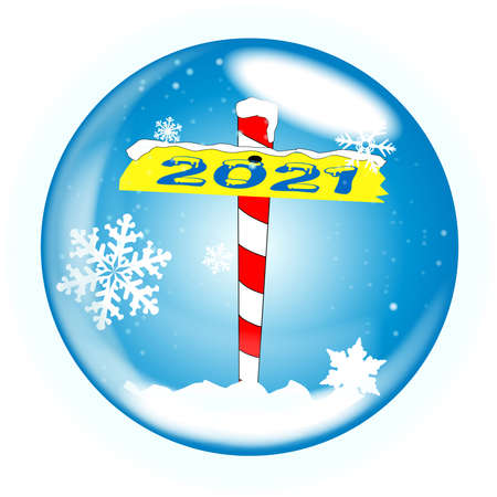 A crystal ball over a winter scene background with a North Pole sign declaring 2021 Banque d'images