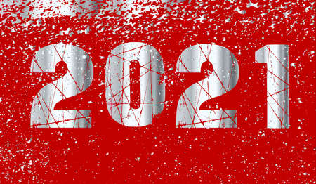 A new year 2021 card background in red and silver