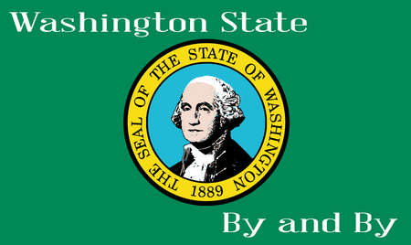 The flag of the state of Washington with the Washington State Seal motif and state motto
