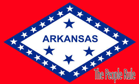 The state flag of the USA state of Arkansas with the state motto The People Rule