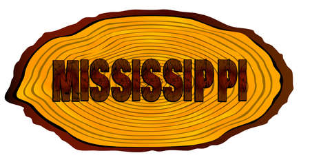 A section of a sawn log with the words MISSISSIPPI over a white background