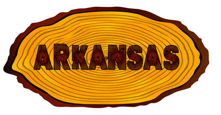 A section of a sawn log with the words ARKANSAS over a white background