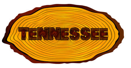 A section of a sawn log with the words TENNESSEE over a white background Illustration