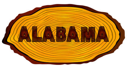 A section of a sawn log with the words ALABAMA over a white background