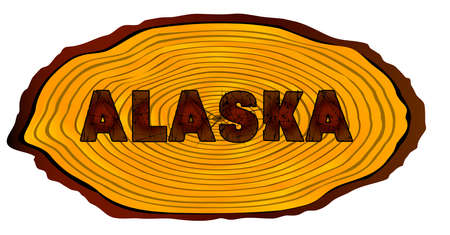 A section of a sawn log with the words ALASKA over a white background Illustration