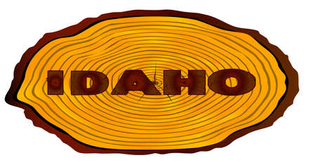 A section of a sawn log with the words IDAHO over a white background