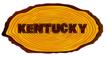 A section of a sawn log with the words KENTUCKY over a white background Illustration