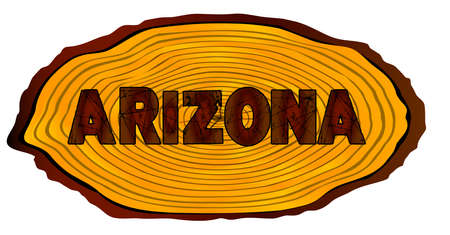 A section of a sawn log with the words ARIZONA over a white background Illustration