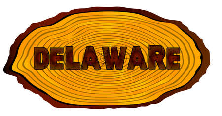 A section of a sawn log with the words DELAWARE over a white background