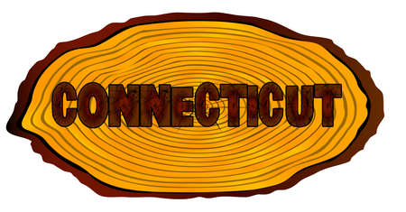 A section of a sawn log with the words CONNECTICUT over a white background