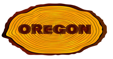 A section of a sawn log with the words OREGON over a white background Illustration