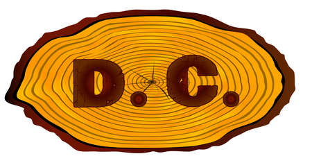 A section of a sawn log with the words D.C. over a white background Illustration