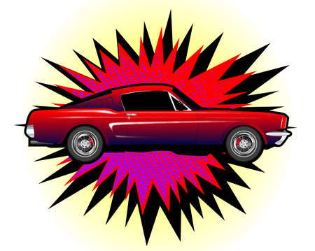 A cartoon style car explosive motif over a white background