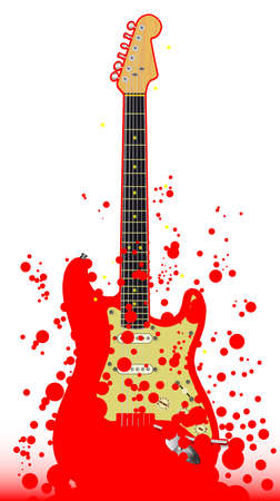 A typical red rock and roll guitar with a splatter background