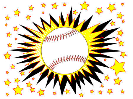 A cartoon style baseball explosive motif with stars over a white background