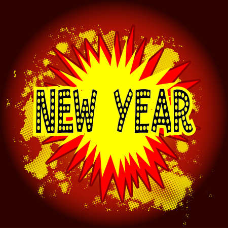 A comic cartoon style new year explosion