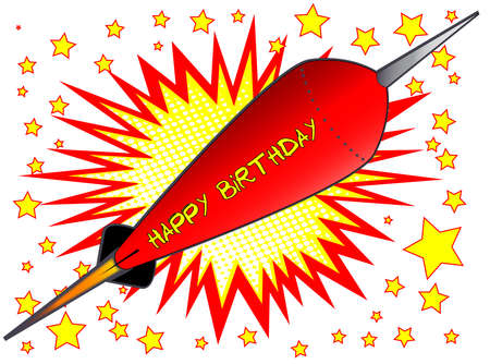 A cartoon style happy birthday explosive motif with stars over a white background