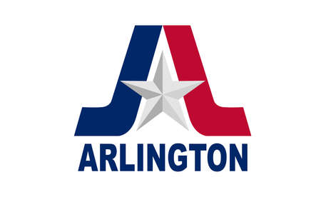The flag of the city in Texas of Arlington with state star