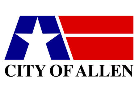 The flag of the city in Texas of Allen with state star Illustration