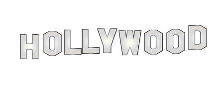 Letters spelling out the word Hollywood isolated over a white background Illustration