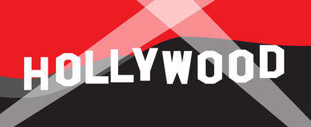Hollywood letter sign with color background and searchlights as a background Illustration