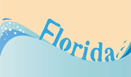 An abstract surfing wave with foam and water droplets and the text Florida