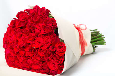 Isolated red roses big bouquet Stock Photo