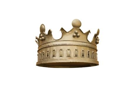 corona de rey: Corona de oro aislado en un fondo blanco