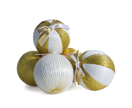 Gold and white christmas balls. Isolated on white background. photo