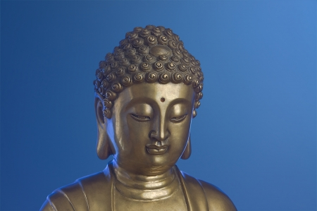 impassive: Head of golden Buddha which looks down is on the blue background