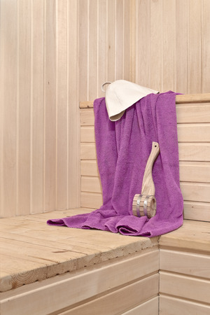 Interior of the sauna and accessories for the steam room photo