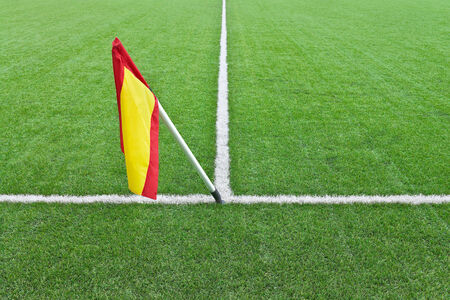 Flag is on the white line markings of the rugby field Stock Photo
