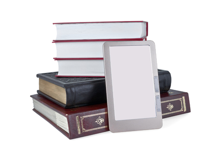 eBook front of a stack of books. Isolated on white background.