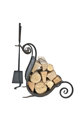Fireplace accessories and birch firewood isolated on white background photo