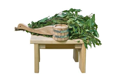 vaporarium: Sauna accessories isolated on white background Stock Photo
