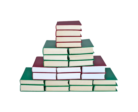 erudition: Books stacked in the shape of a pyramid isolated on white background