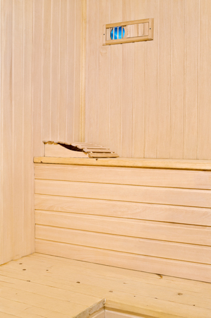 headrest: Sauna accessories are in the interior of the steam room Stock Photo