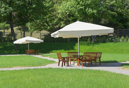 Outdoor cafe is in the park photo