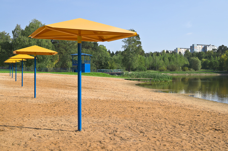sunshades: Sunshades are on a sandy beach on a background of trees