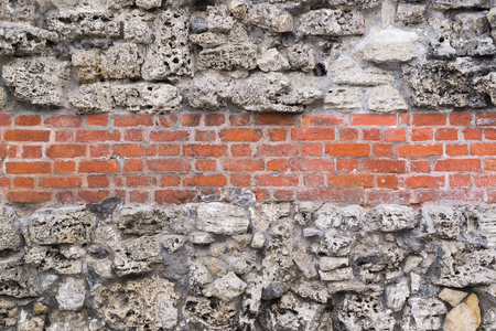 boulders: Stone wall from boulders and bricks
