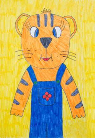 tigre cachorro: Gráfico de los niños del cachorro de tigre sobre fondo amarillo
