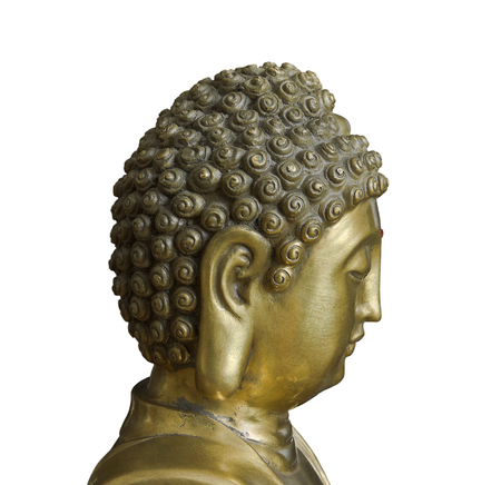 sanctity: Head of Buddha in profile isolated on white background