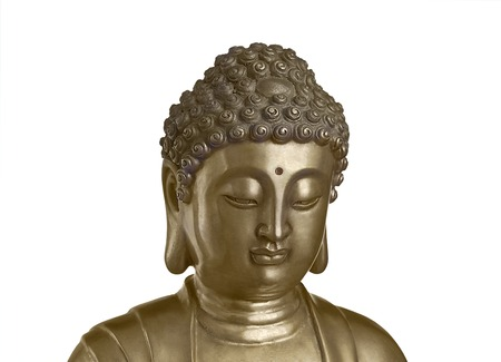 impassive: Head of Buddha which looks down isolated on white background Stock Photo