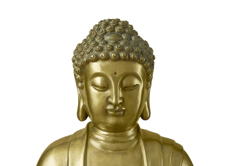 poise: Head of Buddha which looks down isolated on white background Stock Photo